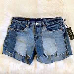 Blank NYC Denim The Essexx Paneled Cutoff Shorts